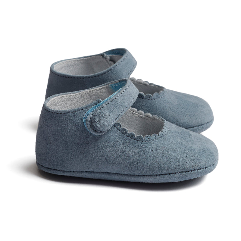 Suede Mary Jane Pram Shoes Baby Blue - Shoes - PEPA AND CO