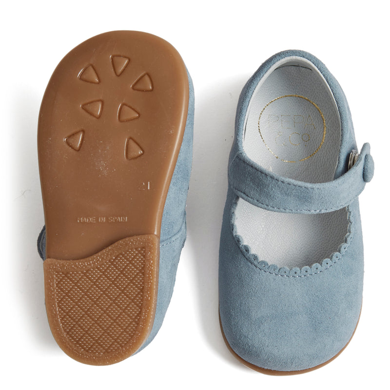 Suede Mary Jane Shoes Baby Blue - Shoes - PEPA AND CO