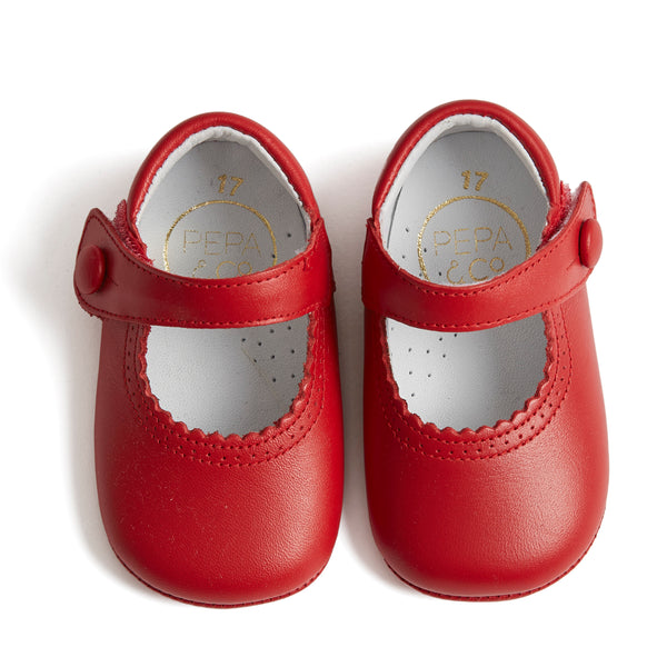 Leather Mary-Jane Baby Pram Shoes Red - Shoes - PEPA AND CO