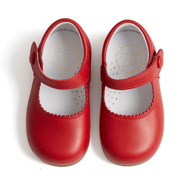 Leather Mary-Jane Baby Shoes Red