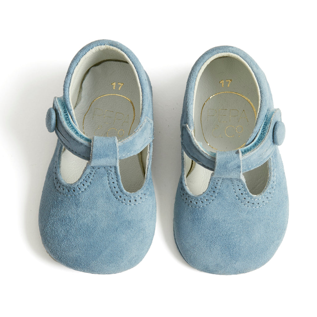 Suede T-Bar Baby Pram Shoes Blue