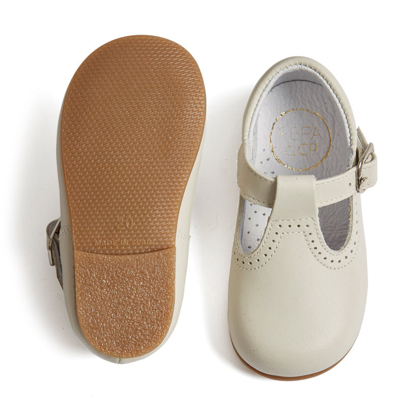 Leather T-bar Baby Shoes Ivory - Shoes - PEPA AND CO