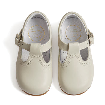 T-Bar Ivory Leather Baby Shoes - T-BAR - PEPA AND CO