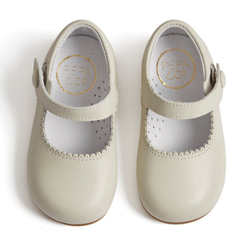 Mary Jane Ivory Leather Baby Shoes - Shoes - PEPA AND CO