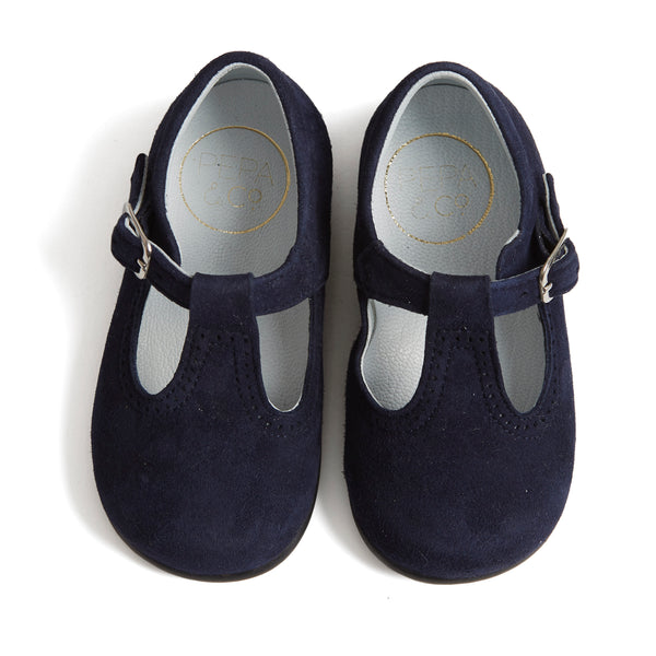 Suede T-bar Baby Shoes Navy - Shoes - PEPA AND CO