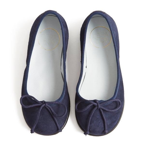 Suede Girls Ballerinas Navy