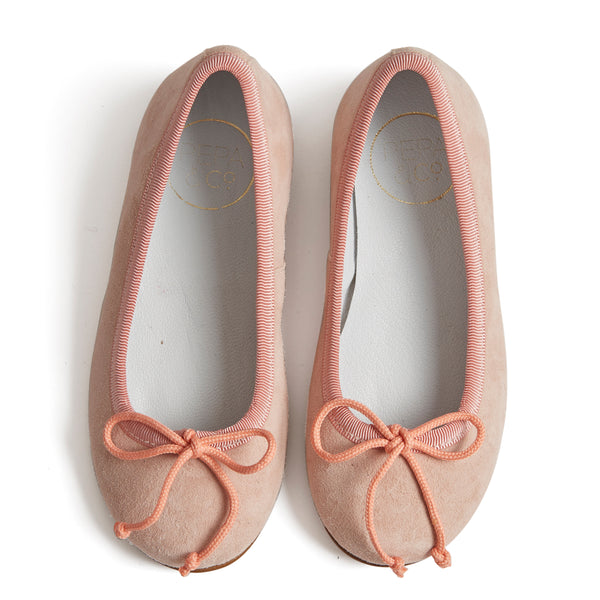 Suede Girls Ballerinas Pink