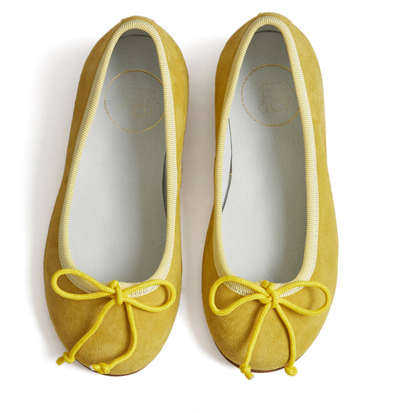 Suede Girls Ballerinas Yellow