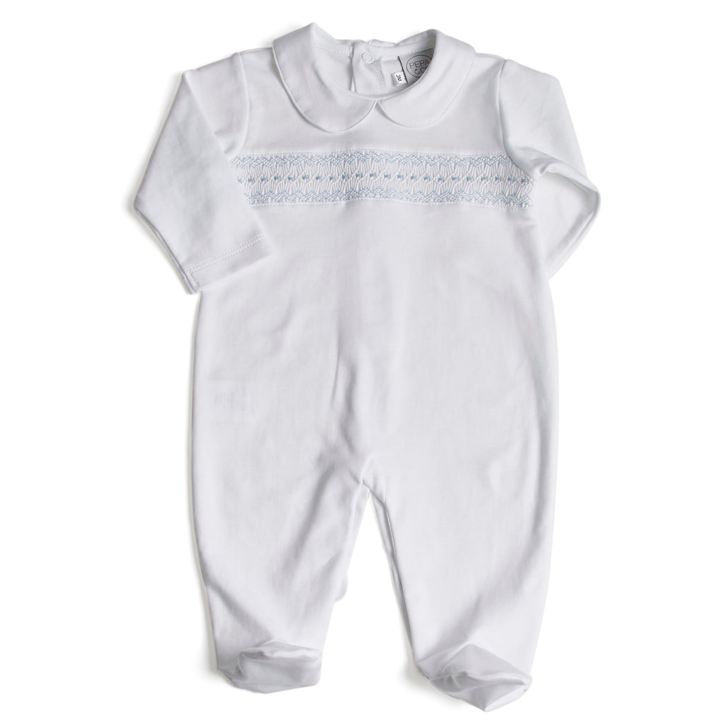 Nightwear All-In-One Handsmocked in Blue - Nightwear - PEPA AND CO