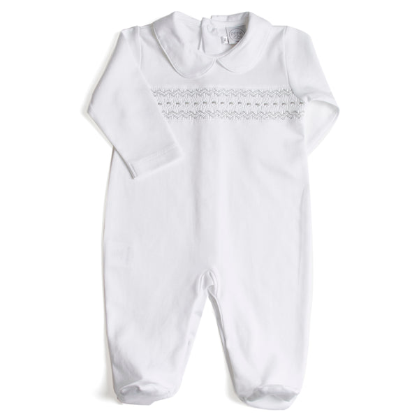 Nightwear All-In-One Handsmocked in Grey - Nightwear - PEPA AND CO