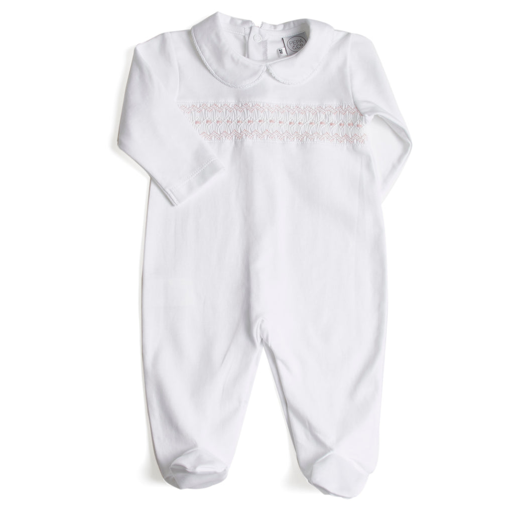 Nightwear All-In-One Handsmocked in Pink - Nightwear - PEPA AND CO