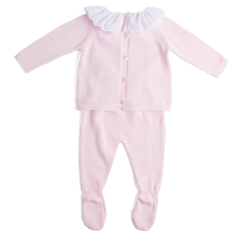 Pink Cotton Set with White Frill Collar - Set - PEPA AND CO
