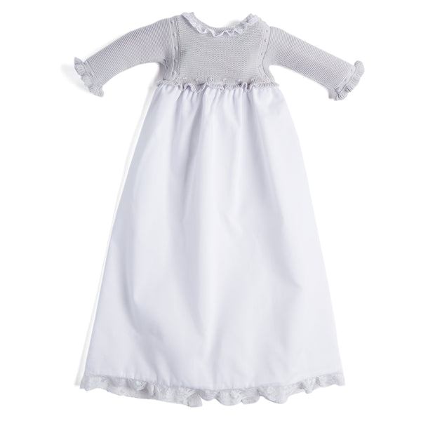 Delicate Grey & White Woven Christening Gown - Gown - PEPA AND CO