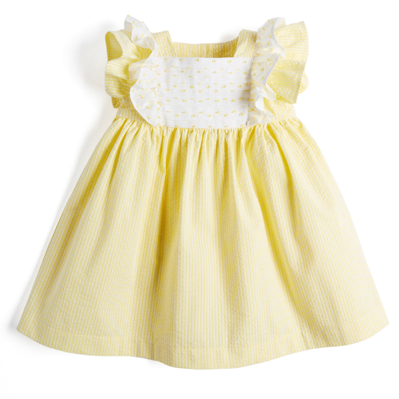 Yellow & White Striped Cotton Dress with White Frill - Dress - PEPA AND CO