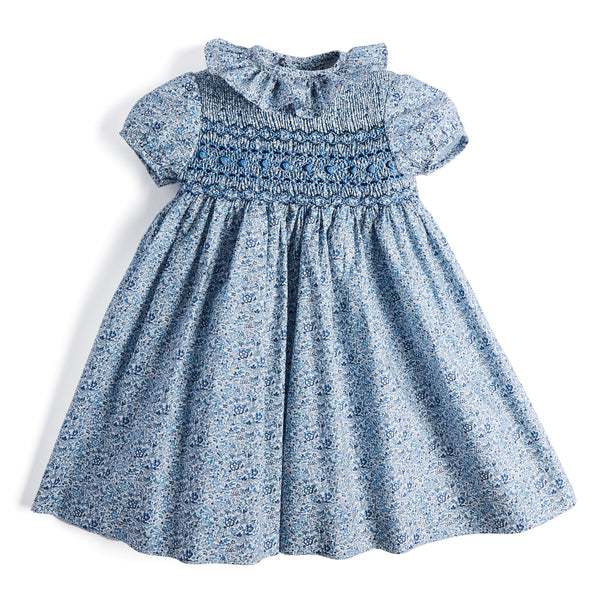Blue Floral Handsmocked Cotton Dress - Dress - PEPA AND CO