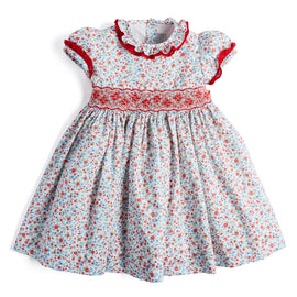 Red Floral Handsmocked Cotton Dress - Dress - PEPA AND CO