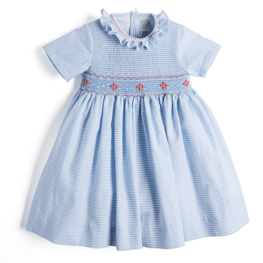 Blue Striped Handsmocked Cotton Dress with Coral Details - Dress - PEPA AND CO