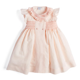 Traditional Pink Handsmocked Linen Dress - Dress - PEPA AND CO