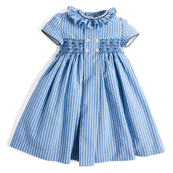 Mariner Blue Handsmocked Cotton Dress - Dress - PEPA AND CO