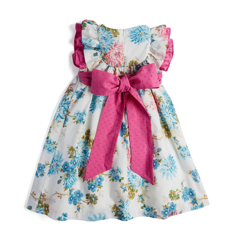 Girl's English Floral Cotton Dress with Bow - Dress - PEPA AND CO
