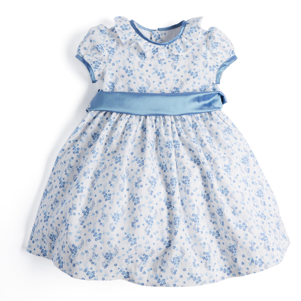Blue Floral Celebration Dress with Blue Silk Sash - Dress - PEPA AND CO