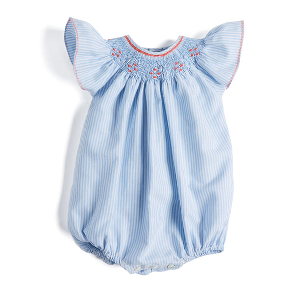 Light Blue Handsmocked Cotton Romper - Romper - PEPA AND CO