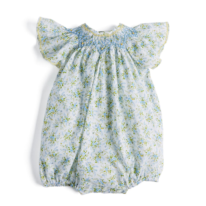 Blue & Yellow Floral Handsmocked Cotton Romper - Romper - PEPA AND CO