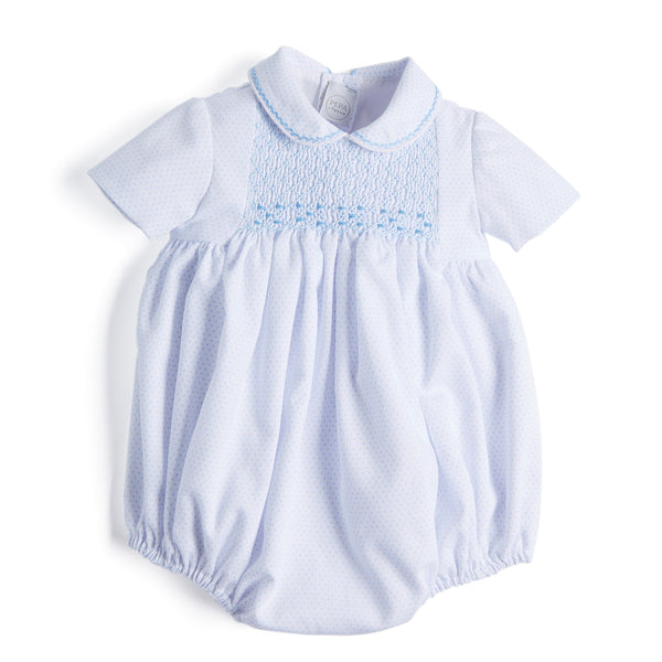 White & Blue Dots Handsmocked Cotton Romper - Romper - PEPA AND CO