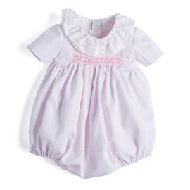 White & Pink Dots Handsmocked Cotton Romper - Romper - PEPA AND CO