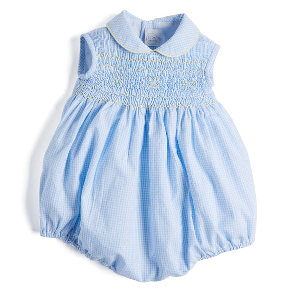 Classic Blue Checked Handsmocked Cotton Romper - Romper - PEPA AND CO