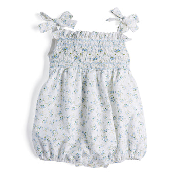 White Romantic Floral Handsmocked Cotton Romper - Romper - PEPA AND CO
