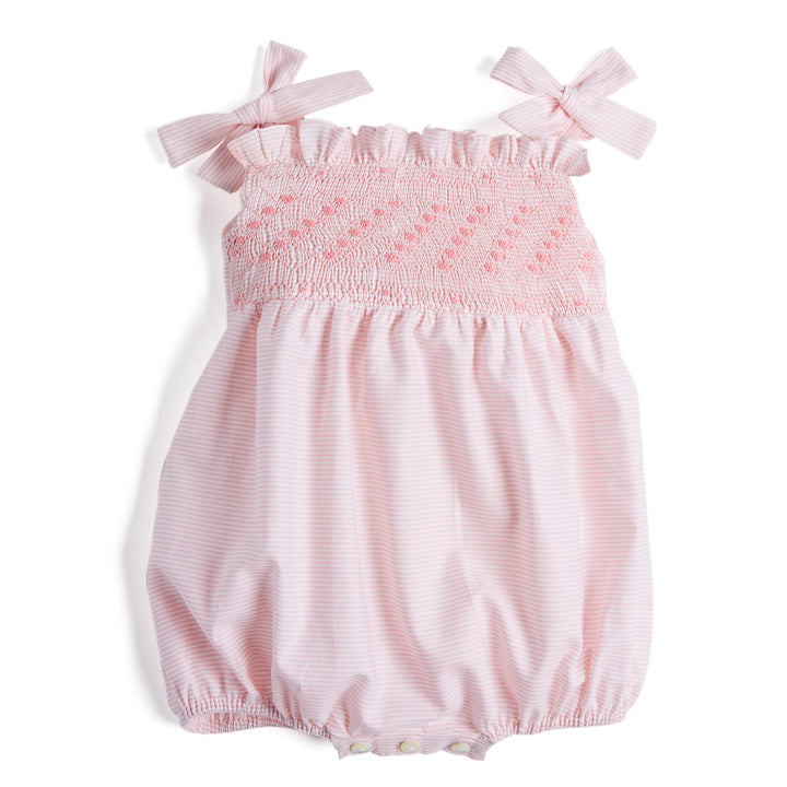 Pink Striped Handsmocked Cotton Romper - Romper - PEPA AND CO