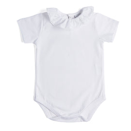 Classic White Cotton Bodysuit with Frill Collar - Bodysuit - PEPA AND CO