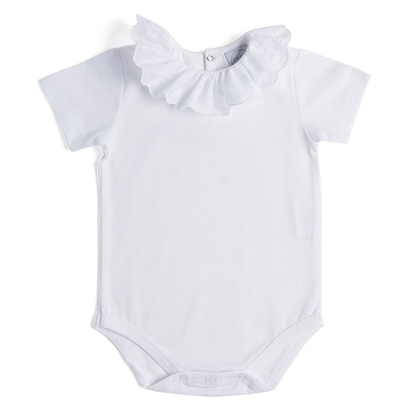Classic White Cotton Bodysuit with Embroidery Collar - Bodysuit - PEPA AND CO