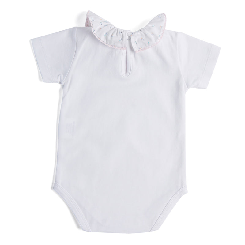 Classic White Cotton Bodysuit with Pink Floral Collar - Bodysuit - PEPA AND CO