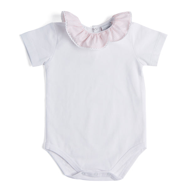 Classic White Cotton Bodysuit with Pink Striped Collar - Bodysuit - PEPA AND CO