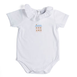 Classic White Cotton Bodysuit with Embroidered Home Motif - Bodysuit - PEPA AND CO