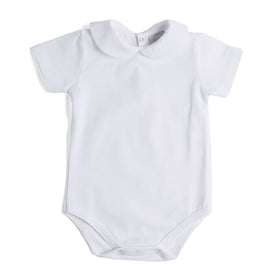 Classic White Cotton Bodysuit with Peter Pan Collar - Bodysuit - PEPA AND CO