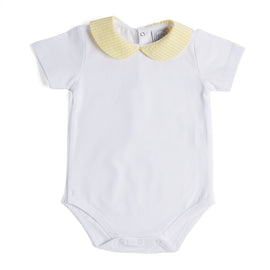 Classic White Cotton Bodysuit with Pale Yellow Peter Pan Collar - Bodysuit - PEPA AND CO