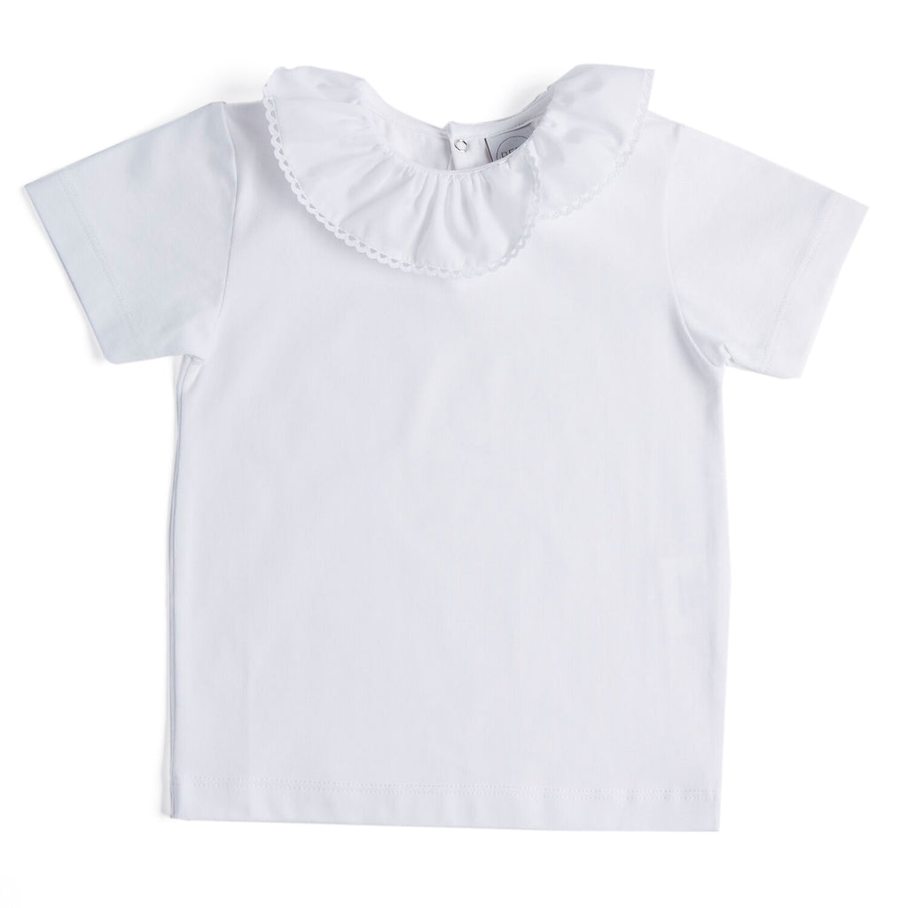 Classic White Cotton Top with Frill Collar - Top - PEPA AND CO