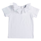 Classic White Cotton Top with Embroidered Frill Collar - Top - PEPA AND CO