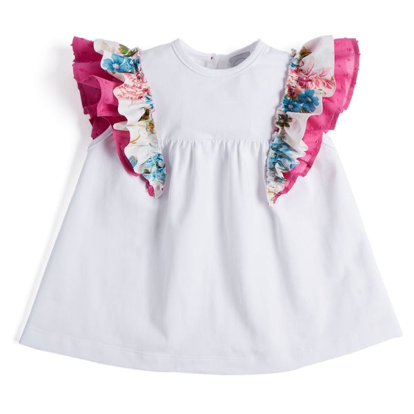 Classic White Cotton Top with Floral Ruffles - Top - PEPA AND CO