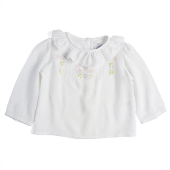 Romantic White Cotton Blouse with Floral Embroidery - Blouse - PEPA AND CO