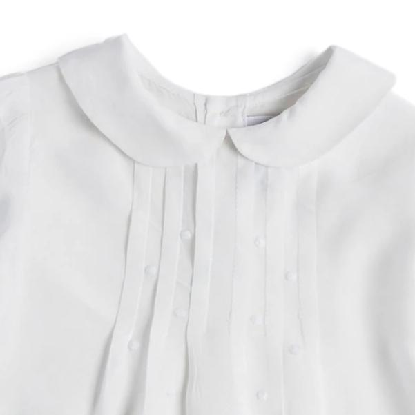 White Cotton Shirt with Delicate Embroidery - Blouse - PEPA AND CO