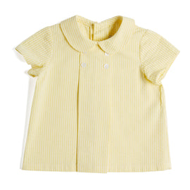 Yellow Striped Cotton Shirt with Peter Pan Collar - Shirt - PEPA AND CO