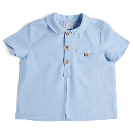 Oxford Blue Cotton Shirt with Peter Pan Collar - Shirt - PEPA AND CO