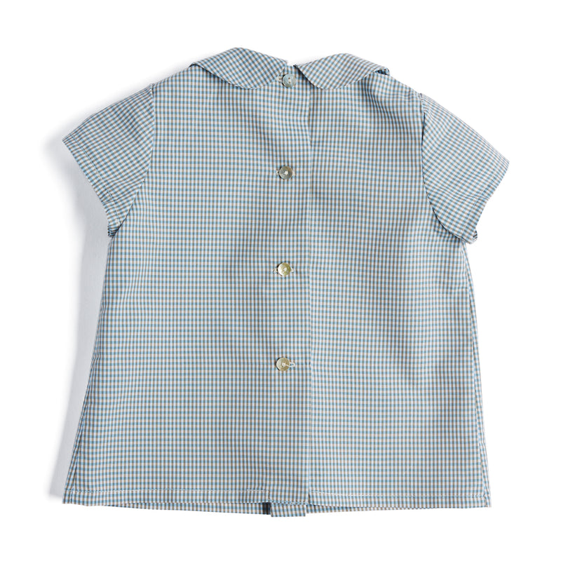 Green Checked Cotton Shirt with Peter Pan Collar - Shirt - PEPA AND CO