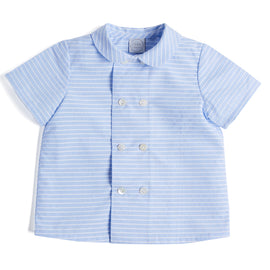 Blue & White Striped Cotton Shirt - Shirt - PEPA AND CO
