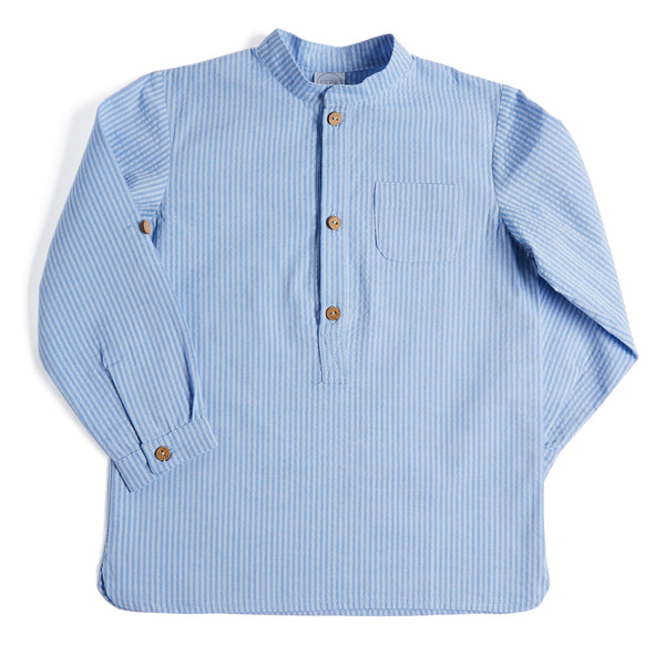 Blue & White Mandarin Collar Cotton Shirt - Shirt - PEPA AND CO