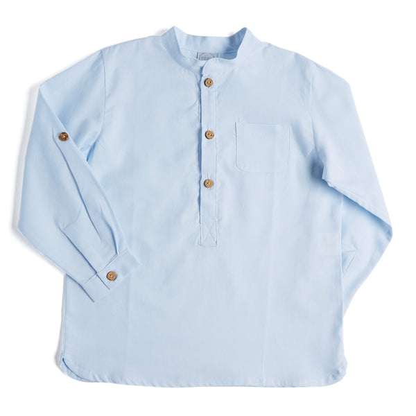 Oxford Blue Mandarin Collar Cotton Shirt - Shirt - PEPA AND CO